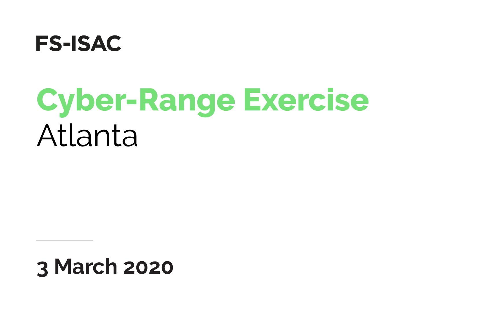 FS-ISAC Cyber-Range Exercise | Atlanta