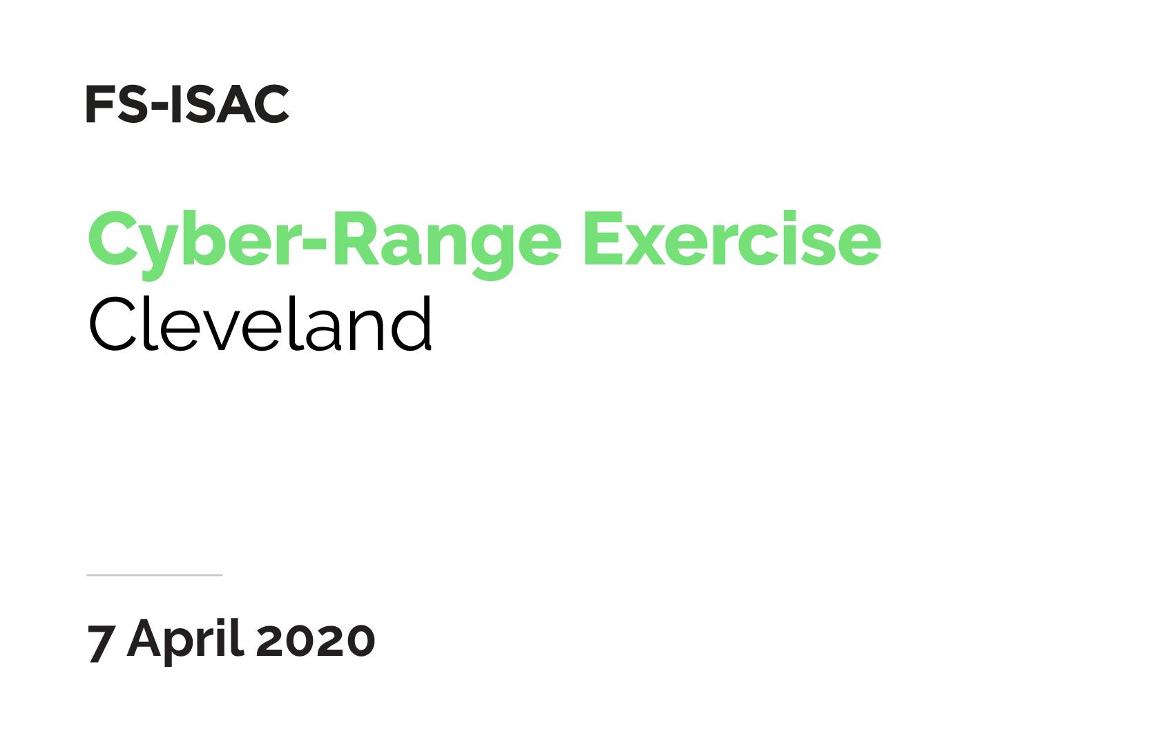 FS-ISAC Cyber-Range Exercise | Cleveland