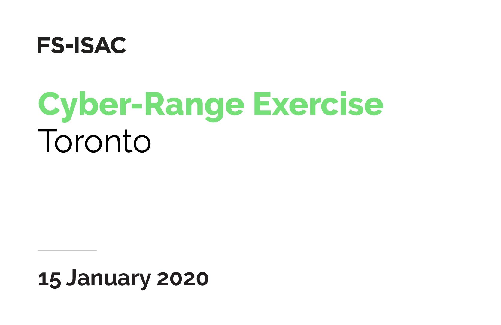 FS-ISAC Cyber-Range Exercise | Toronto