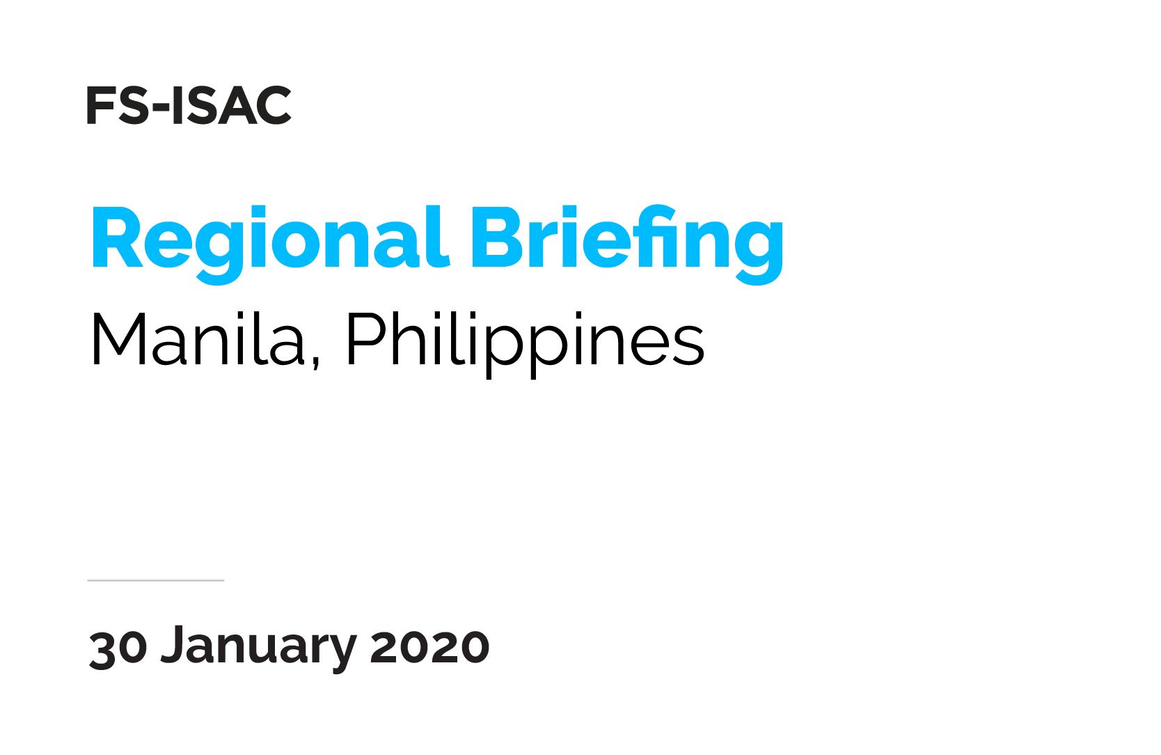 Manila Regional Briefing